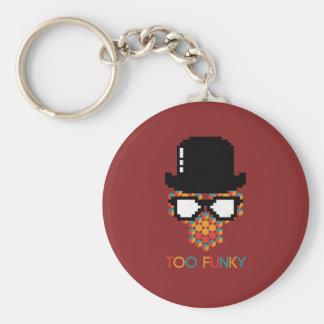 Isometric Funky Monkey glasses Cube pattern Basic Round Button Key Ring