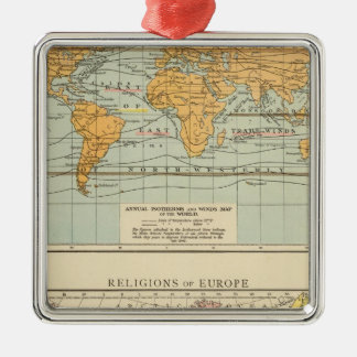Isothermal, winds Religions Europe Silver-Colored Square Decoration