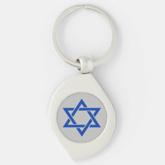 Israel Blue Star of David on Matte Silver Key Ring