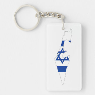 israel country flag map shape silhouette key ring