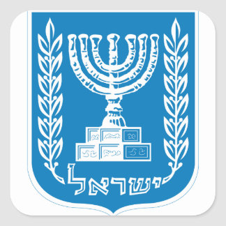 israel emblem square sticker