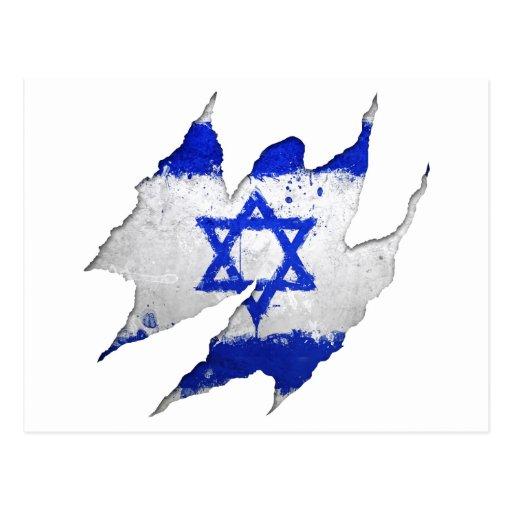 Israel flag graffiti rip post card