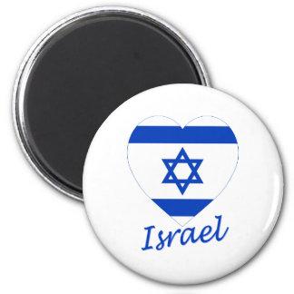 Israel Flag Heart 6 Cm Round Magnet