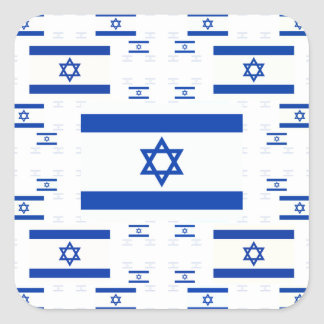 Israel Flag in Multiple Colorful Layers 2 Square Sticker