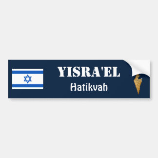 Israel Flag + Map Bumper Sticker