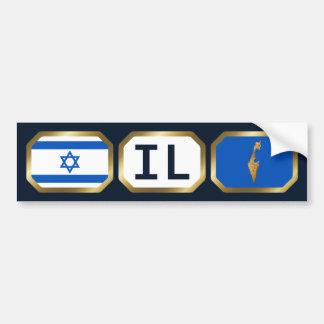 Israel Flag Map Code Bumper Sticker