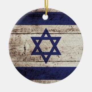 Israel Flag on Old Wood Grain Christmas Ornament