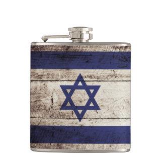 Israel Flag on Old Wood Grain Hip Flask