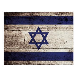 Israel Flag on Old Wood Grain Postcard