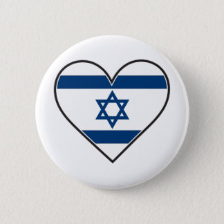 israel heart flag 6 cm round badge