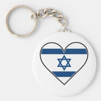 israel heart flag basic round button key ring