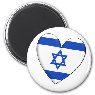 Israel Heart Flag 6 Cm Round Magnet