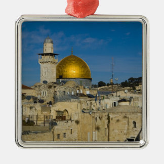 Israel, Jerusalem, Dome of the Rock Silver-Colored Square Decoration