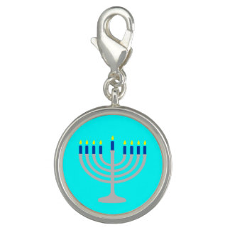 Israel Silver / Blue Hanukkah Menorah on Aqua Blue