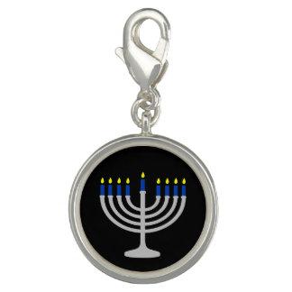 Israel Silver / Blue Hanukkah Menorah on Black