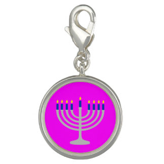 Israel Silver / Blue Hanukkah Menorah on Pink