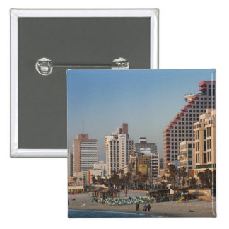 Israel, Tel Aviv, beachfront, hotels, dusk 15 Cm Square Badge