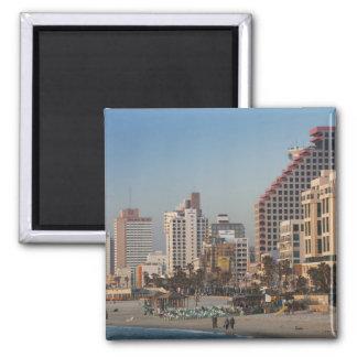 Israel, Tel Aviv, beachfront, hotels, dusk Square Magnet