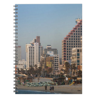 Israel, Tel Aviv, beachfront, hotels, dusk Notebook
