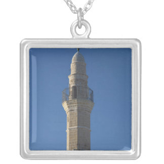 Israel, Tel Aviv, Jaffa, mosque minaret Silver Plated Necklace
