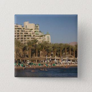 Israel, The Negev, Eilat, Red Sea beachfront 2 15 Cm Square Badge
