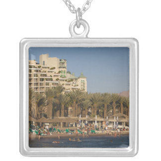 Israel, The Negev, Eilat, Red Sea beachfront 2 Silver Plated Necklace