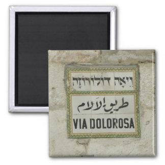 Israel - Via Dolorosa Christian pilgrims Jerusalem Square Magnet