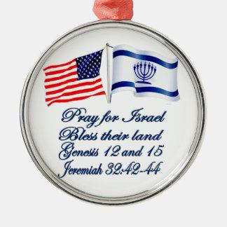 `Israeli American flag collection Christmas Ornament