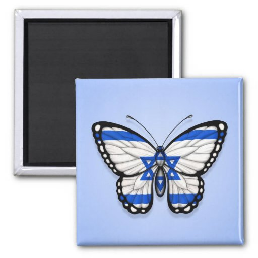 Israeli Butterfly Flag on Blue Refrigerator Magnets