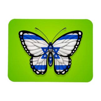 Israeli Butterfly Flag on Green Vinyl Magnet