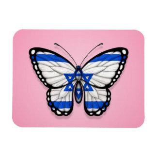 Israeli Butterfly Flag on Pink Rectangular Magnets