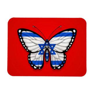 Israeli Butterfly Flag on Red Rectangle Magnet