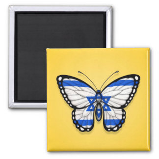 Israeli Butterfly Flag on Yellow Magnet
