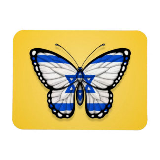 Israeli Butterfly Flag on Yellow Rectangle Magnet