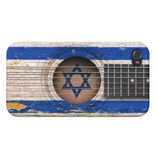 Israeli Flag on Old Acoustic Guitar iPhone 4 Case