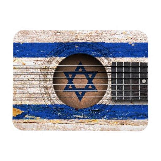 Israeli Flag on Old Acoustic Guitar Vinyl Magnets