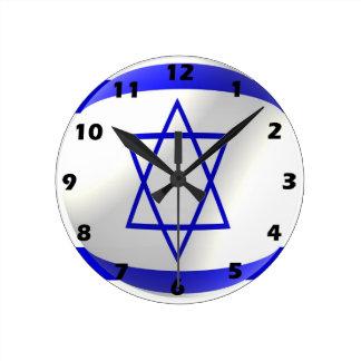 Israeli Flag Round Clock