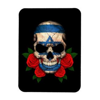 Israeli Flag Skull with Red Roses Flexible Magnets