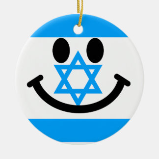 Israeli flag smiley face christmas ornament