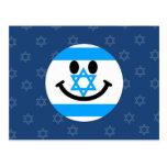 Israeli flag smiley face postcard