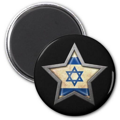 Israeli Flag Star on Black Refrigerator Magnets
