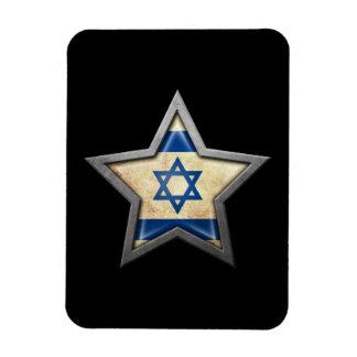 Israeli Flag Star on Black Rectangle Magnet