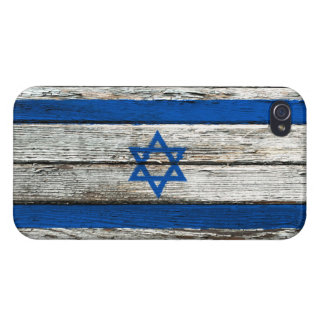 Israeli Flag with Rough Wood Grain Effect Case For iPhone 4