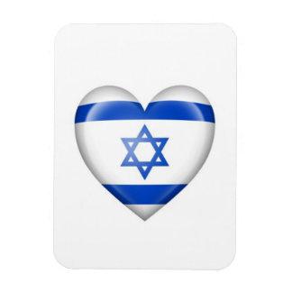 Israeli Heart Flag on White Flexible Magnets
