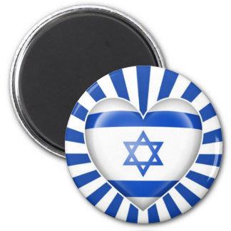 Israeli Heart Flag with Star Burst 6 Cm Round Magnet