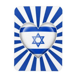 Israeli Heart Flag with Star Burst Flexible Magnets