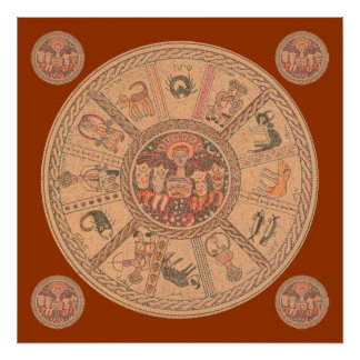 Israeli Hebrew Zodiac Wheel Poster