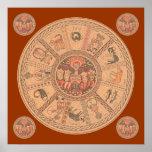 Israeli Hebrew Zodiac Wheel Print