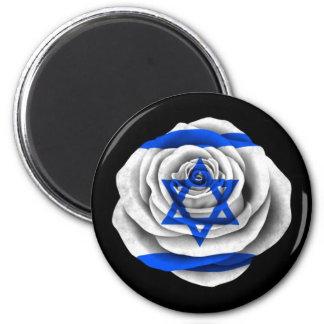 Israeli Rose Flag on Black Refrigerator Magnet
