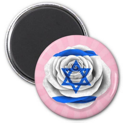 Israeli Rose Flag on Pink Magnets
